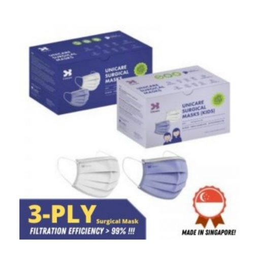 Unicare Disposable 3-Ply Earloop Surgical Mask 50pcs (Adult/Kids)